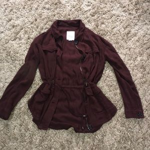Maroon jacket with zippers & buttons!